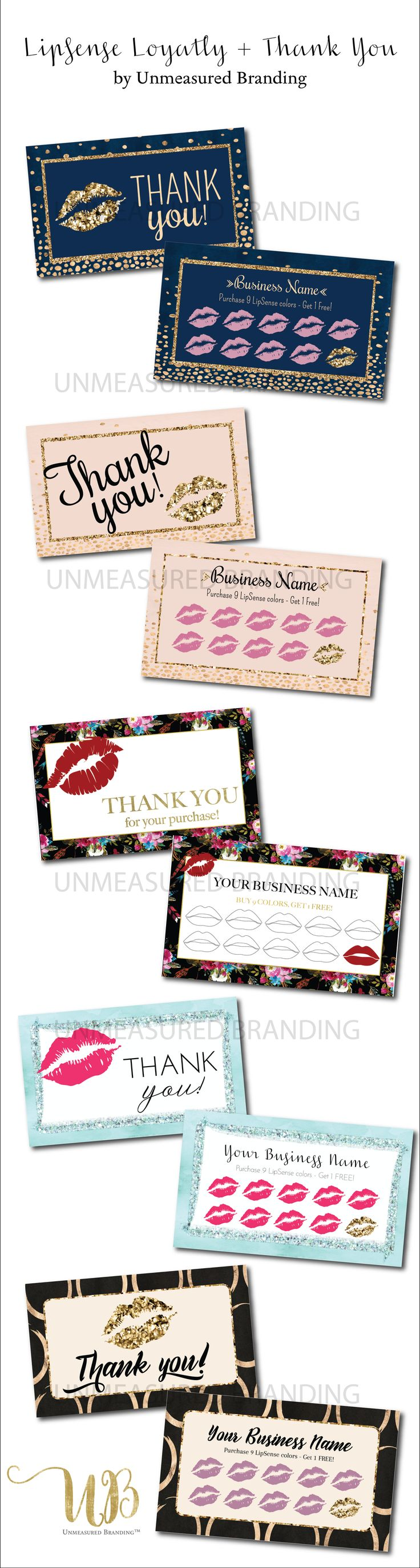 LipSense Loyalty Cards LipSense Thank You Cards LipSense Printables SeneGence Printables LipSense Distributor