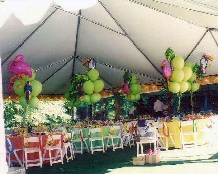 Tables Set Up Under Party Tent I Love The Alternating Colors Of Table Cloths Luau WeddingWedding IdeasBrick