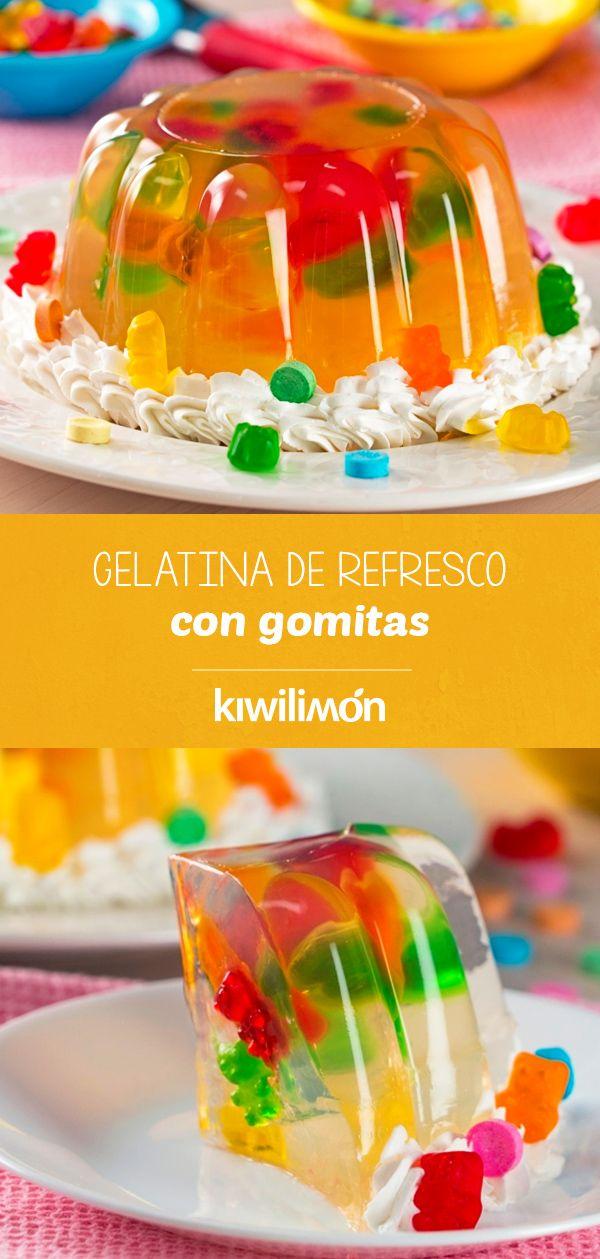 Gelatina de Refresco con Gomitas | Receta | Postres en 2019