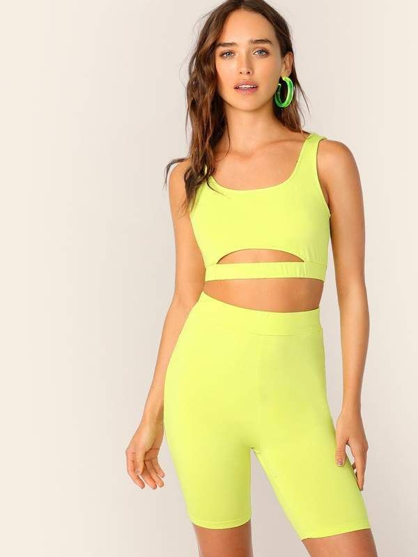 Cutout Neon Yellow Crop Top & Cycling Shorts Set –  #Crop #Cutout #Cycling #neon #Set #shorts…   – Biker Shorts Outfit Casual