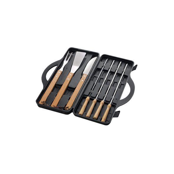 COD.VN045 Set de 7 herramientas de BBQ en Maletín de plástico duro negro. Con ventana rectangular lisa exterior para aplicar logo.