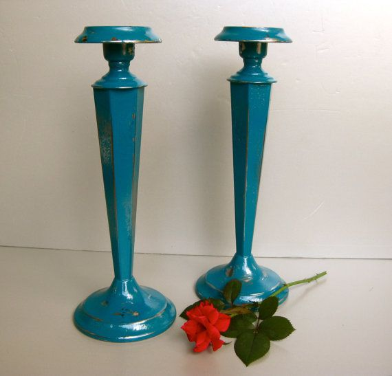 Vintage Candlesticks Teal Candle Holders Chrome Candles by Swede13