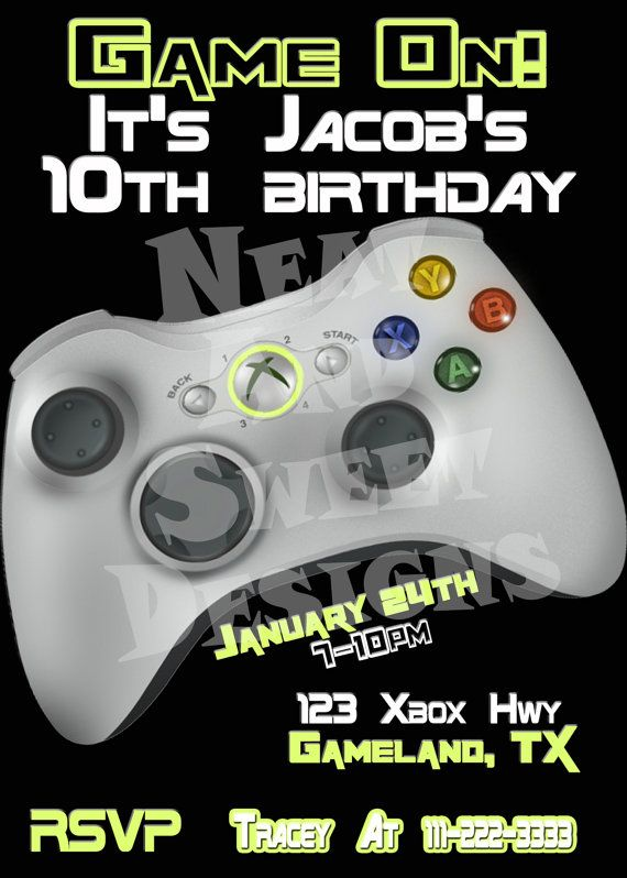 x  printable video game birthday invitation  gaming birthday, party invitations