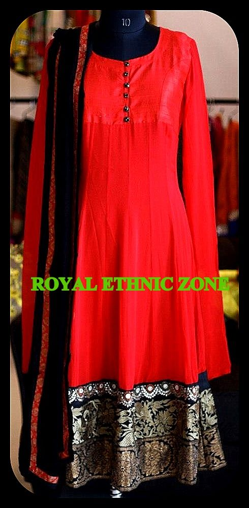 STYLE NO. REZ 233 RED ANARKALI WITH BEAUTIFUL BORDER PRICE- 7500/- FABRIC- COTTON SILK, GEORGETTE