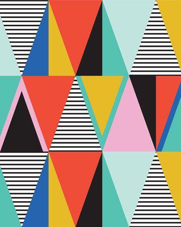 Grafische driehoeken  16 x 20 kunst print van shopampersand op Etsy