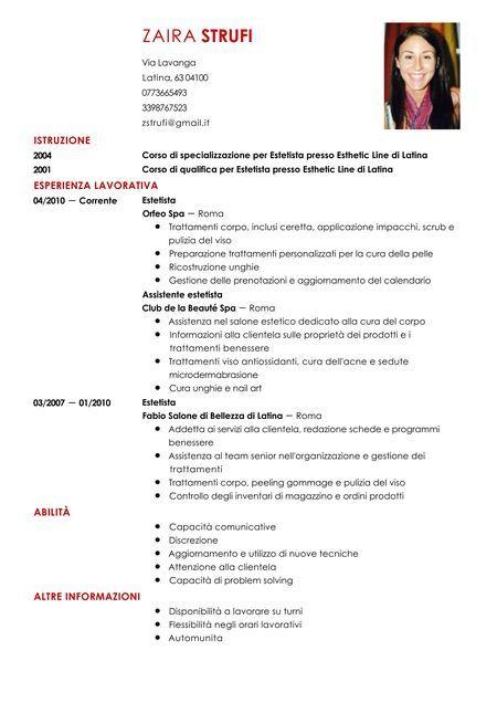 Risultati Immagini Per Esempio Cv Italiano Compilato Curriculum