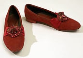"""Shoes for the red velvet and satin """"Devil"""" fancy dress costume by Brooks Costume Company, American, 1953."""