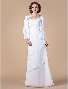 lanting kılıf / sütun artı boyutları / gelin elbise minyon anne - fildişi zemin uzunlukta uzun kollu şifon