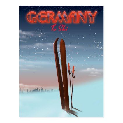Germany Ice Ski travel poster Postcard - postcard post card postcards unique diy cyo customize personalize