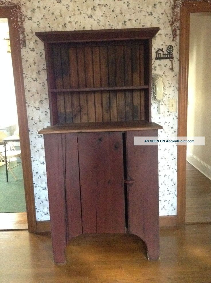 Early American Step Back Country Primitive Stepback Hutch Cupboard  Primitives Photo