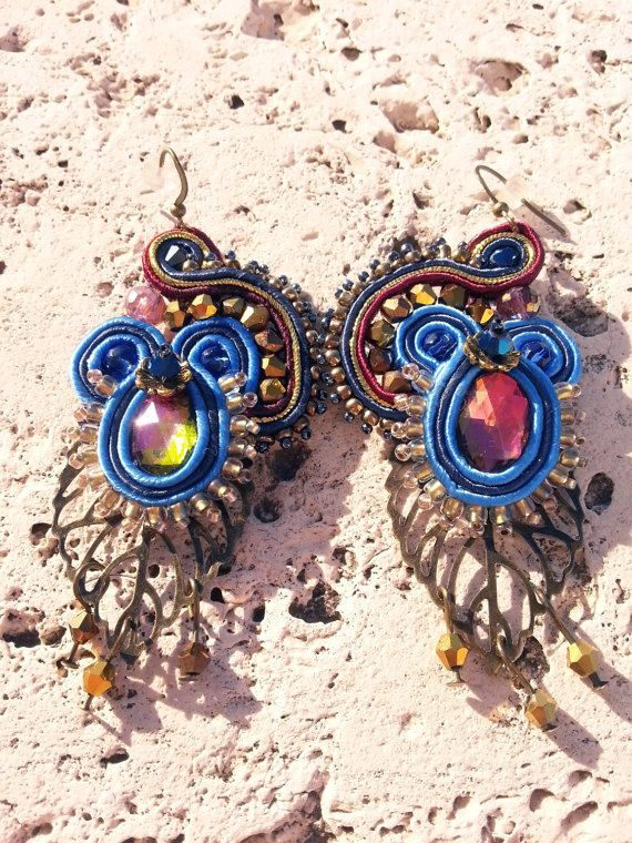 Iris - Orecchini soutache blu e bronzo, elegante