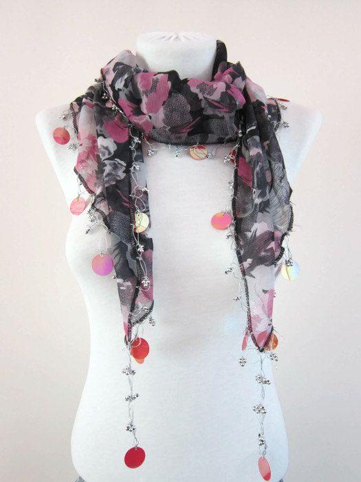 Handmade Traditional Turkish Fabric Scarf-Crochet by scarfnurlu