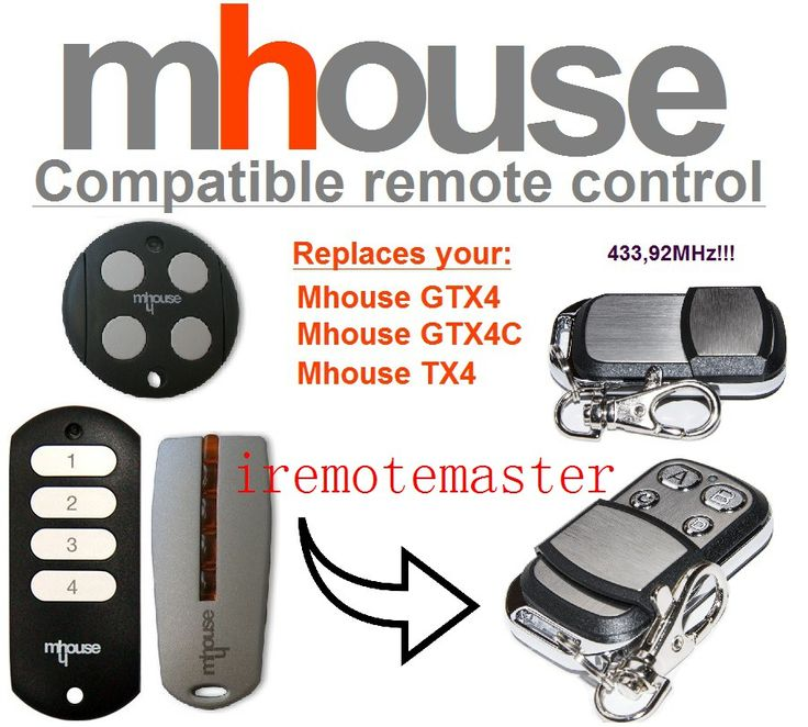 MHouse GTX4, GTX4C,TX4 universal garage door remote control replacement 433mhz rolling code