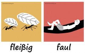 fleißig_faul_Adjektive_Deutsch_deutschlernerblog