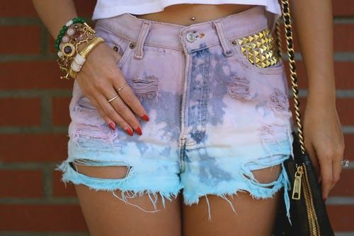 distressed dip dye denim shorts with spikes