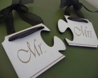 Unique Wedding Sign, Mr and Mrs Wedding Sign, Puzzle Connect Sign, Custom Wooden Sign. Engraved Sign