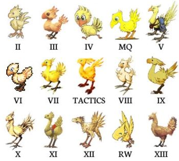 Chocobos.  I would have loved to see the XIV chocos on here. The fat chocobo is so cute and I even dyed my regular choco dark gray.