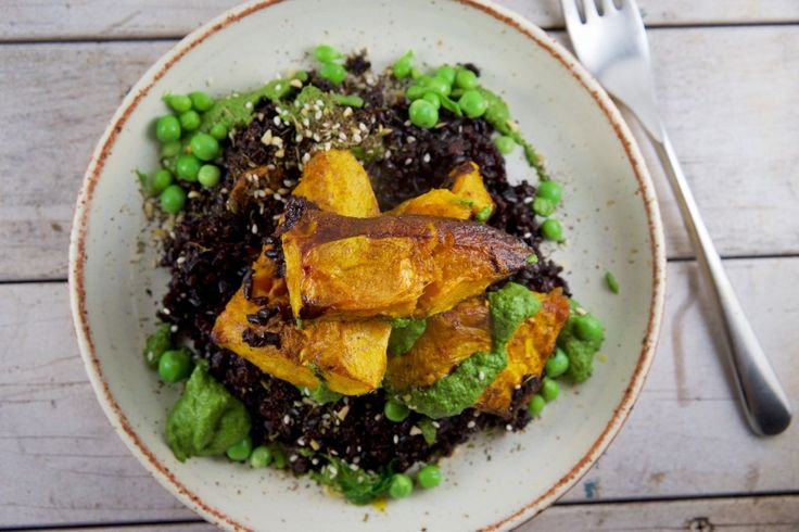 Carrot top dressing with black rice, roasted pumpkin and sweet peas from CookSophieCook #thinkeatsave