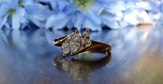 Three Stone Marquise Cut Engagement Ring  / by TranscendFineJwlry