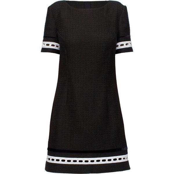 LATTORI Sweet Nightfall, Black and White Dress (9 460 UAH) ❤ liked on Polyvore featuring dresses, lattori, short sleeve dress, sleeve dress, white black dress, embellished dresses and ribbon dress