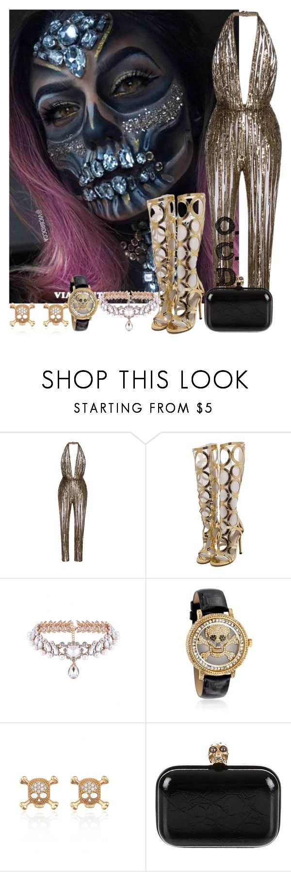 """""""Halloween Edition: Glamour Skull."""" by oreocaker ❤ liked on Polyvore featuring Elie Saab, WithChic, Saint James and Alexander McQueen"""