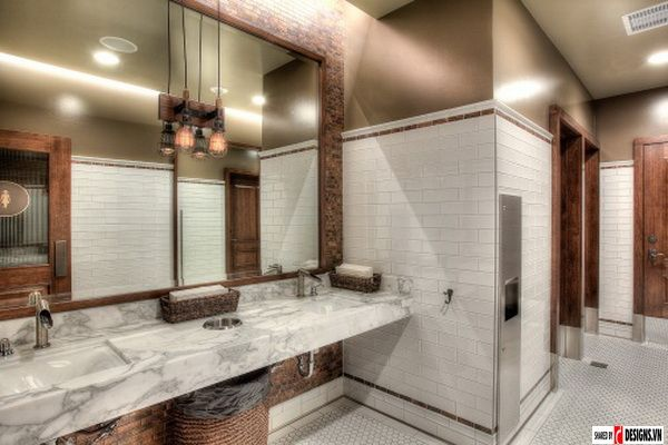 47 best restaurant restroom images on pinterest bathroom - Restaurant bathroom design ideas ...