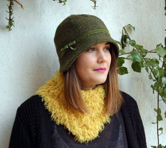 Cloche hat dark olive green wool tweed with smal by WhereIsTheCat