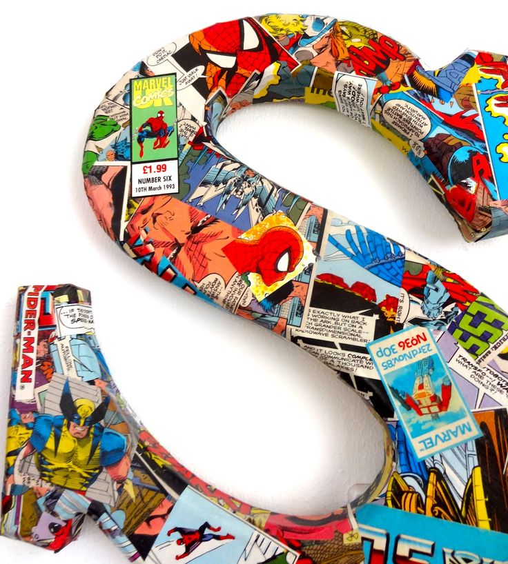 Decorate wooden letters with vintage comics Blogs, Dogs, Frogs and books.