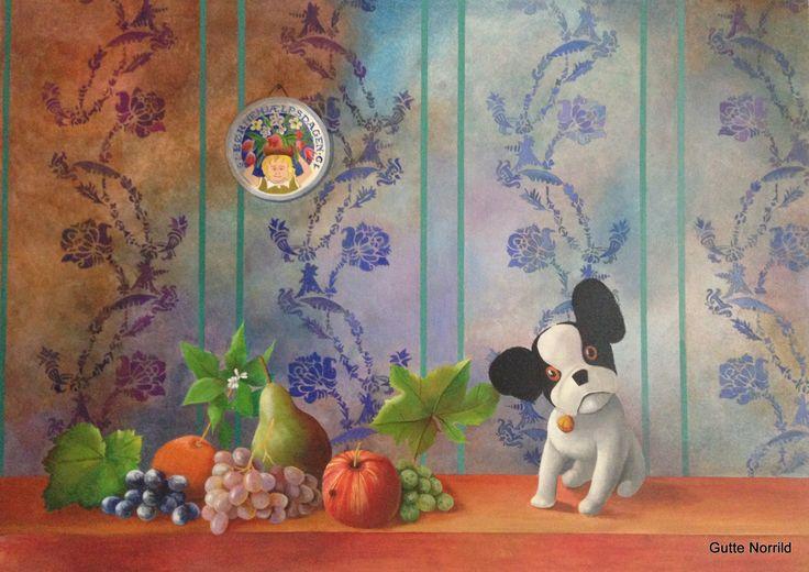 """""""Natura morte with little french bulldog teddy"""", artist Gutte Norrild"""