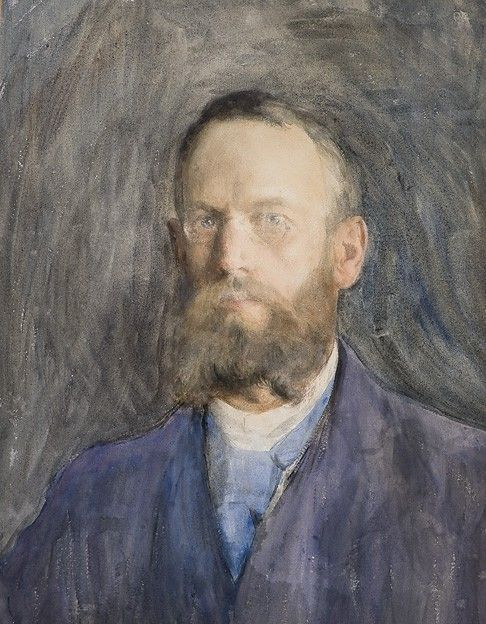 blastedheath:  Erik Werenskiold (Norwegian, 1855-1938), Self-portrait. Watercolour on paper, 61.5 x 47.5 cm.