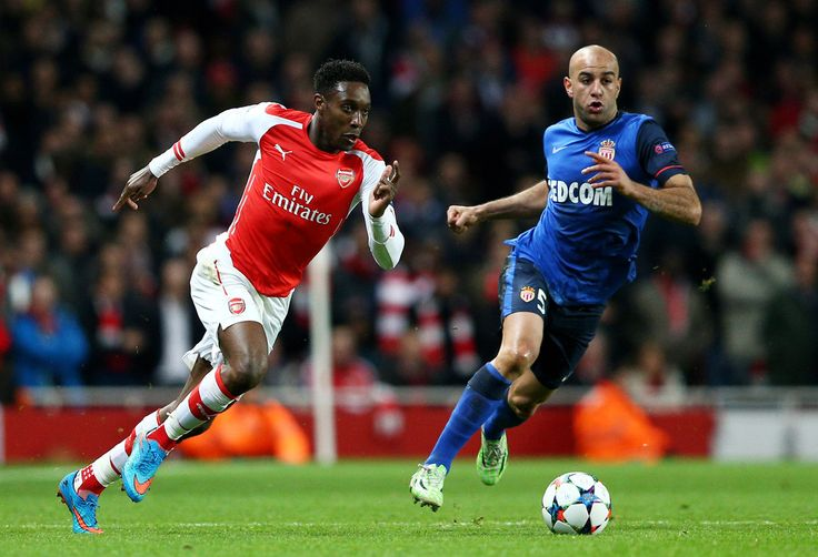 Danny Welbeck of Arsenal goes past Aymen Abdennour of Monaco during the UEFA Champions League round of 16, first leg match between Arsenal and Monaco at The Emirates Stadium on February 25, 2015 in London, United Kingdom.