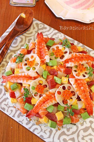 ひな祭りのパーティメニュー☆盛りつけ簡単ちらし寿司のレシピ♡