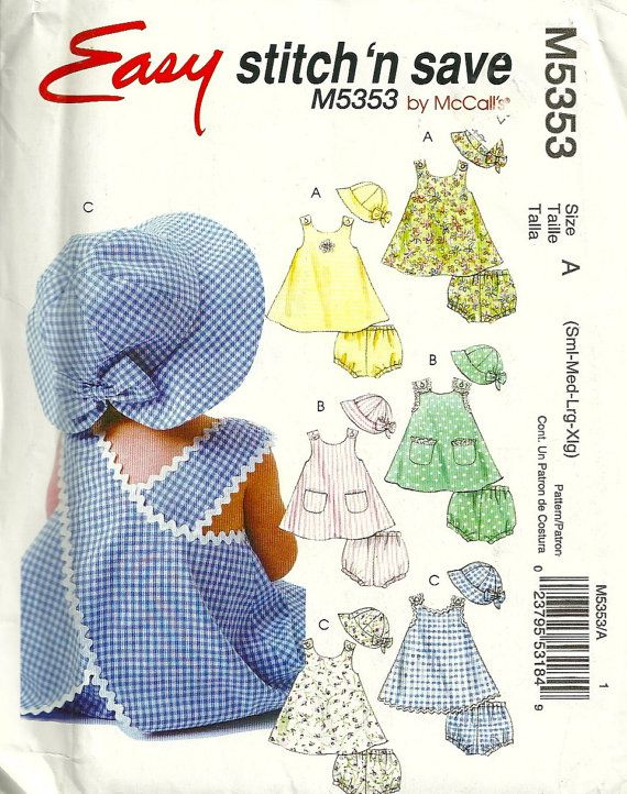 McCalls 5353 Infants Easy Criss Cross Back Dress Panties and Hat Pattern Baby Girls Sewing Pattern Size S M L XL  Uncut