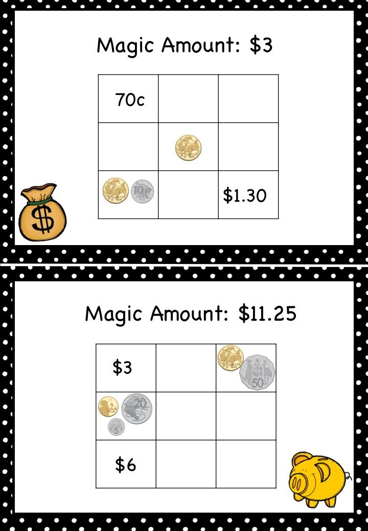 Australian Money Magic Squares Higher Order Thinking Grades 3 and 4 - Includes magic squares for students to complete by finding the missing amounts of money. Each horizontal, vertical and diagonal line in each square needs to equal the corresponding magic amount. Great for maths centres, maths rotations, partner work and as extension activities. View product here: https://www.teacherspayteachers.com/Product/Australian-Money-Magic-Squares-Higher-Order-Thinking-Grades-3-and-4-2555037