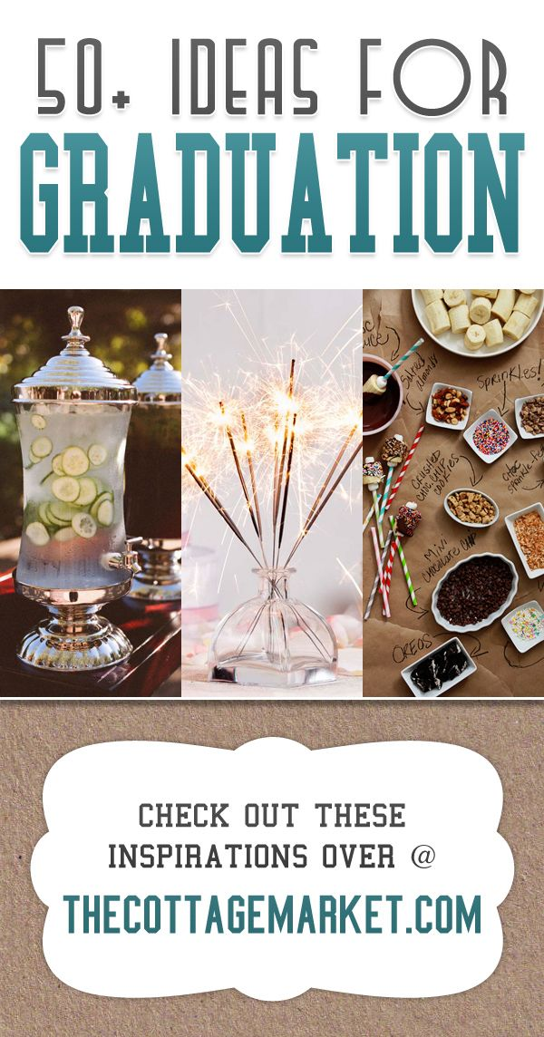 50  Ideas for Graduation...great food prep ideas...wonderful decor ideas...even some brilliant gift ideas!  Centerpieces...buffet tables...even a candy dipped banana bar and more!  Great ideas for any party!