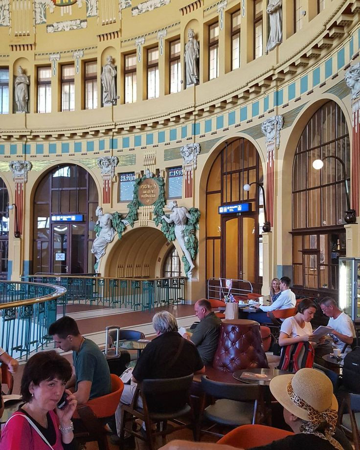 Morning Coffee at the Historical Building of the Main Station in Prague  #prague #travel #morning #coffee #saturday #mainstation #main #station #central #historical #building #oldarchitecture #architecture #train #interior #galaxys6