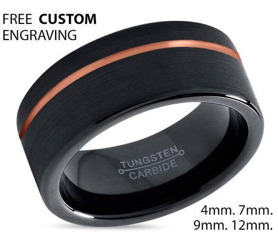 Black Tungsten Ring Rose Gold Wedding Band Ring Tungsten Carbide 9mm 18K Tungsten Ring Man Wedding Band Male Women Anniversary Matching