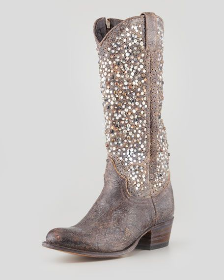 Frye - Deborah Studded Vintage Leather Boot, Gray... looking for a cheap pair of boots to bling up like this!