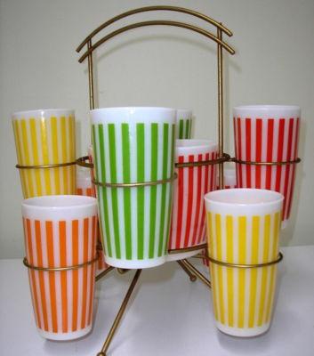 Hazel Atlas Lemonade Set with yellow, red, orange and green stripes...