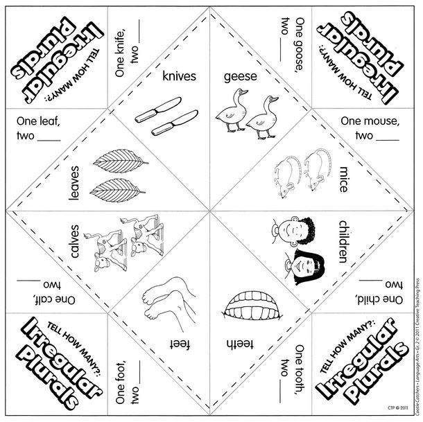 irregular plural nouns activity, FREE cootie catcher