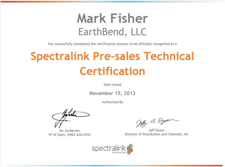 Spectralink Pre-sales Technical Certification - Mark Fisher