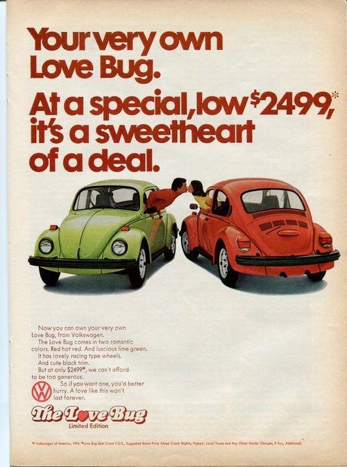 The Love Bug - 1974 Volkswagon Beetle advertisement.