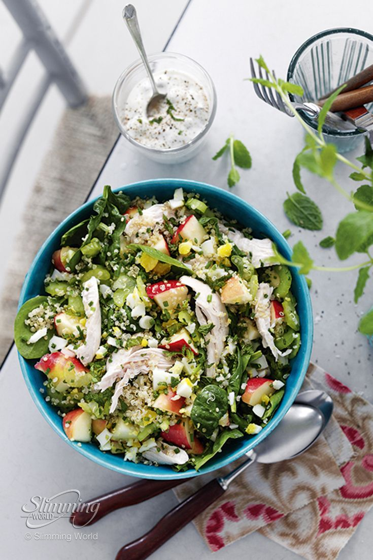 This simple Slimming World salad packed with chicken, apple and celery is refreshing and substantial, and any leftovers would make a great lunchbox filler! The quinoa in this dish is super-filling, and whether you enjoy it for breakfast, lunch or dinner, it's a great alternative to rice or couscous. http://www.slimmingworld.com/recipes/chicken-and-quinoa-salad.aspx