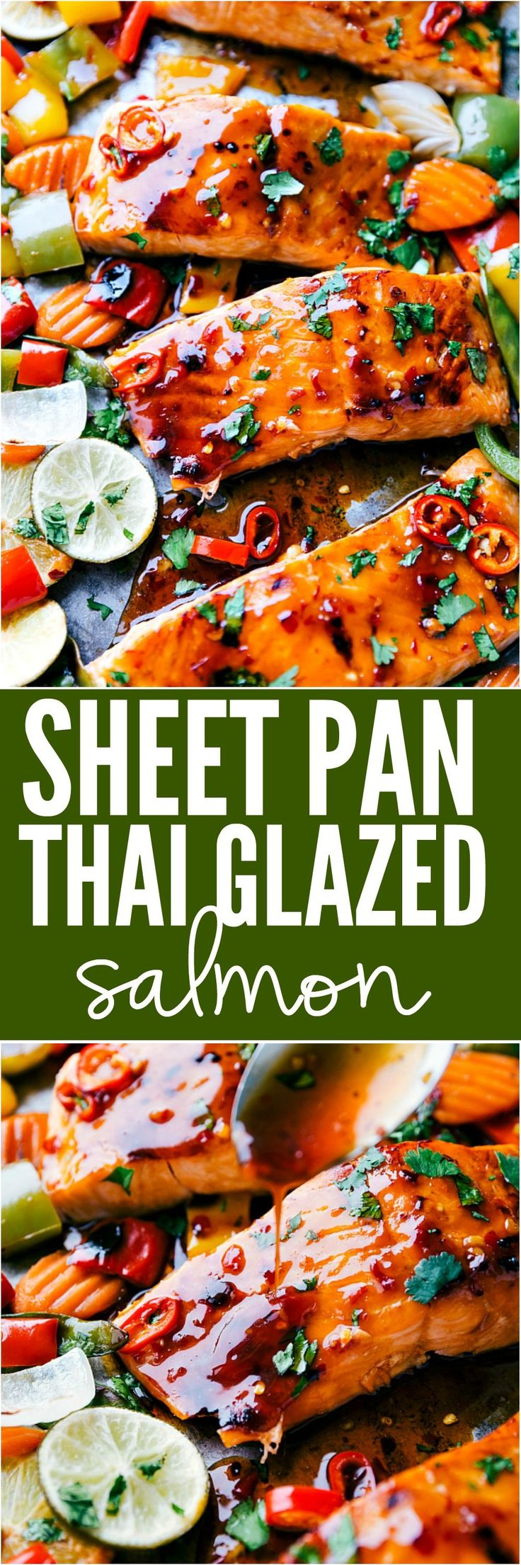 Sheet Pan Thai Glazed Salmon with Vegetables is an incredible all in one meal that has the best flavor. Melt in your mouth Salmon gets glazed with a sweet thai sauce and is surrounded by crisp and tender veggies. This meal is a winner!