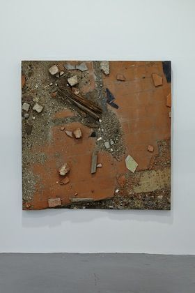 Boyle Family, Study #5. Study of Shattered Red Tiles with Old Bricks and Decaying Wood, 1973-4 at DRAF, London, 2014. Photo: Matthew Booth. ...
