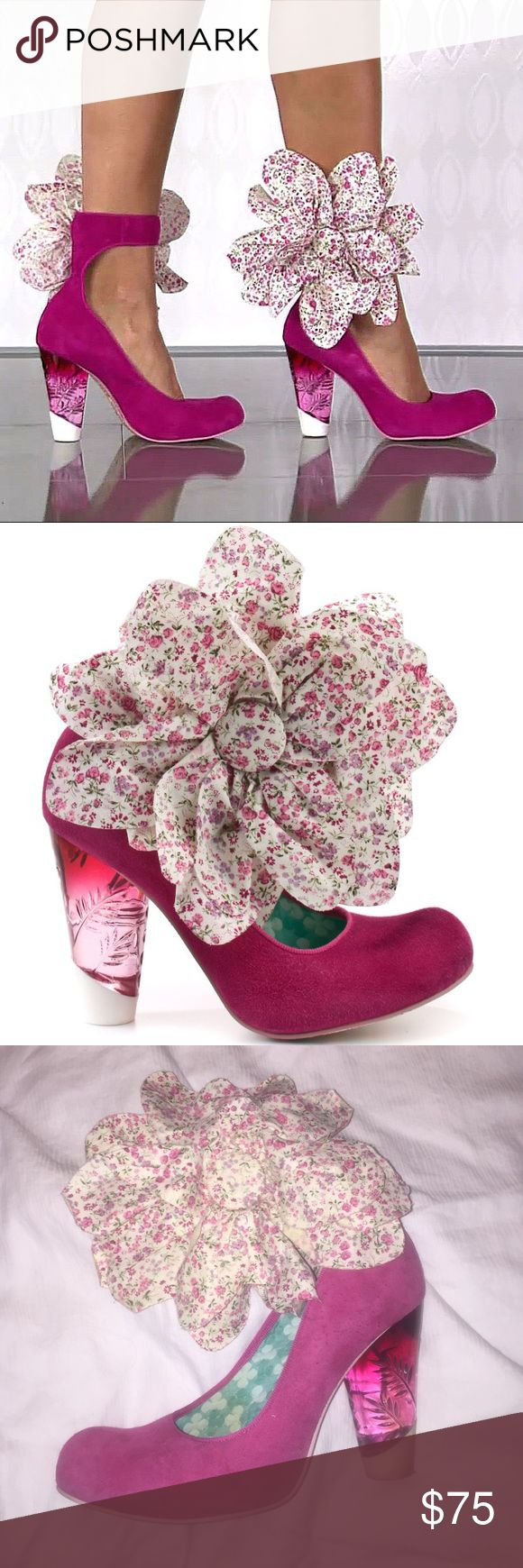 """Irregular Choice Specialzo Floral Pink suede Heels This is an amazing pair of Irregular Choice Specialzo pink suede heels. Size 7 heel 3.5"""" wraps around the ankle and closes with Velcro. Good condition. Irregular choice Shoes Heels"""