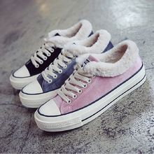 Women Flock Canvas Shoes Lace Up Casual Shoes Winter Woman Flats Warm Shoes Breathable Plush shoes Ladies Espadrilles