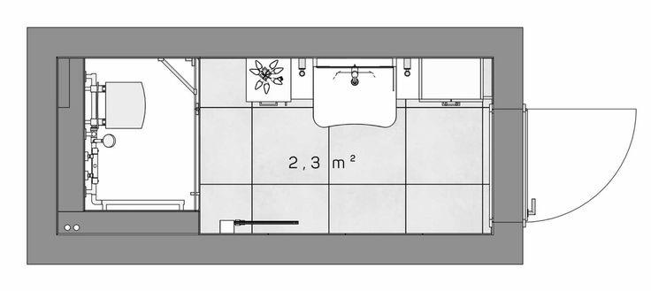Grundriss des Seniorenbad auf 2,3 m² von HEIMWOHL München