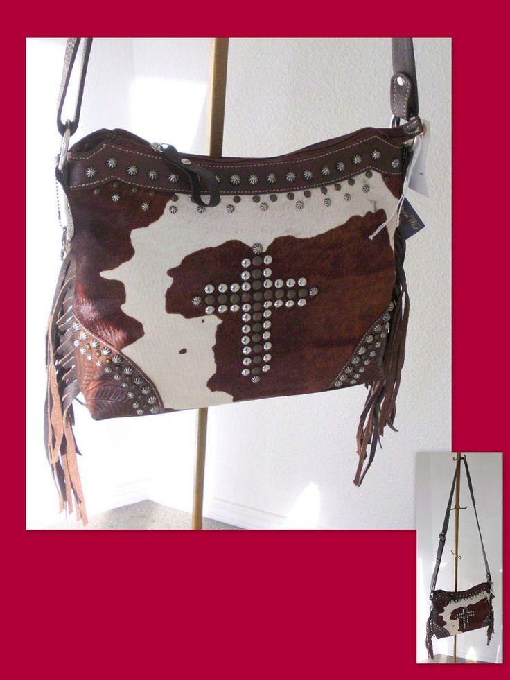 AMERICAN WEST Home on the Range Western Hair-On Hide Leather Crossbody Hand Bag #AmericanWest #Crossbody