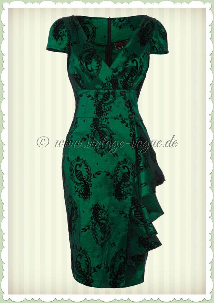 Voodoo Vixen 40er Jahre Vintage Volant Pencil Etui Kleid - Emerald - Grün